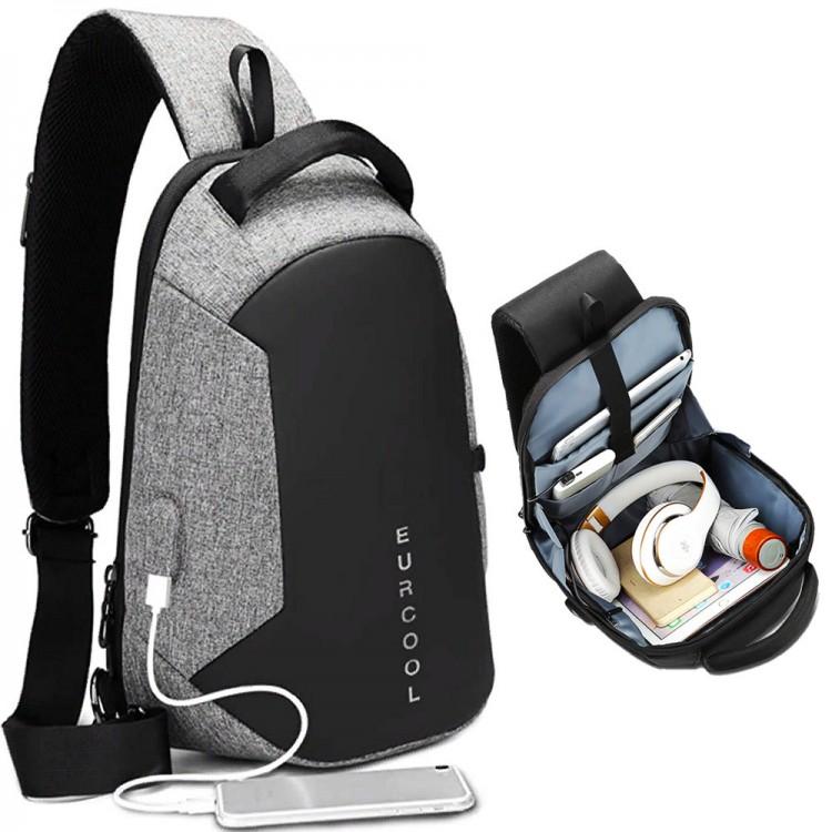 Однолямочный рюкзак EuroCool EC-1825-L Серый