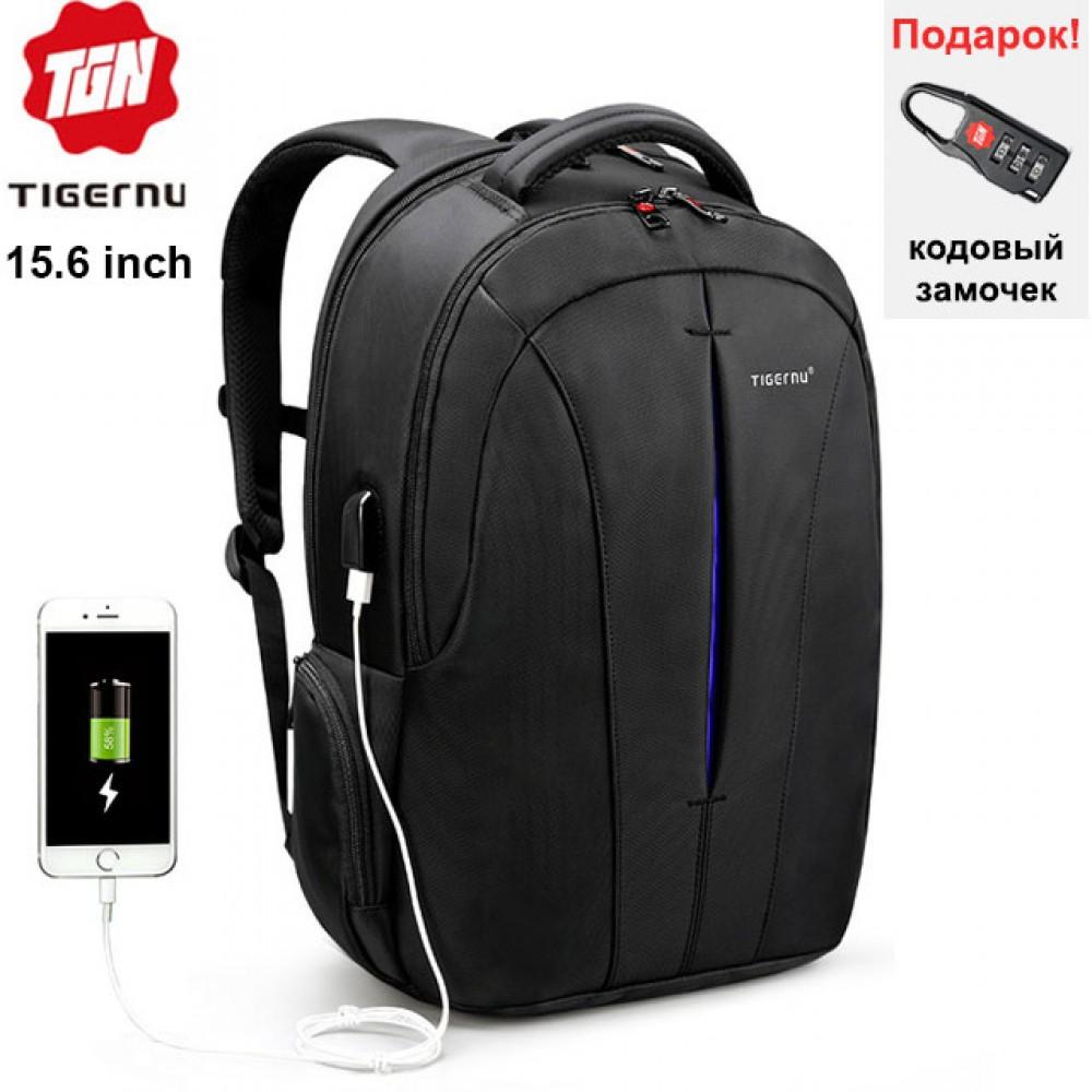 Рюкзак Tigernu T-B3105 с USB портом Чёрно-синий