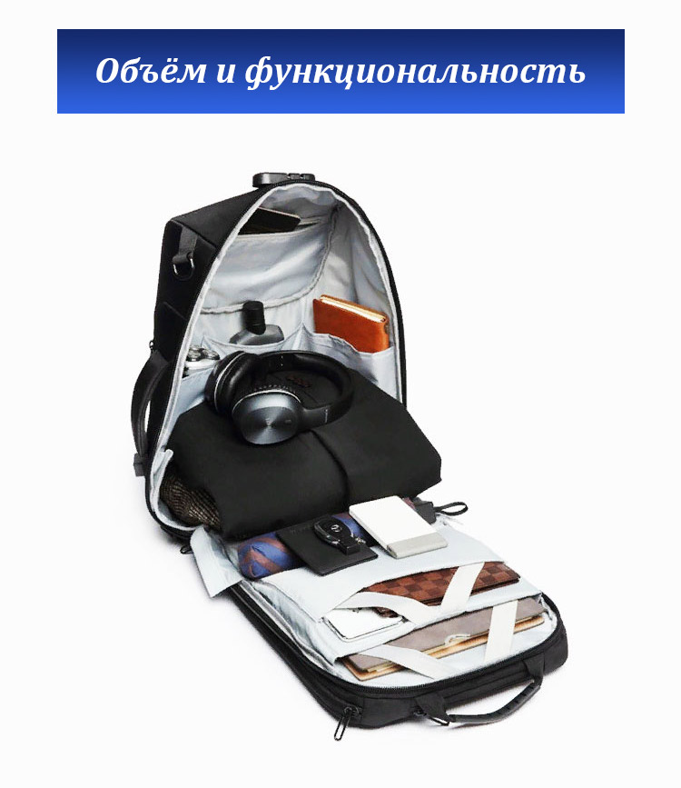 Деловой рюкзак Ozuko Ninja 9225 Чёрный
