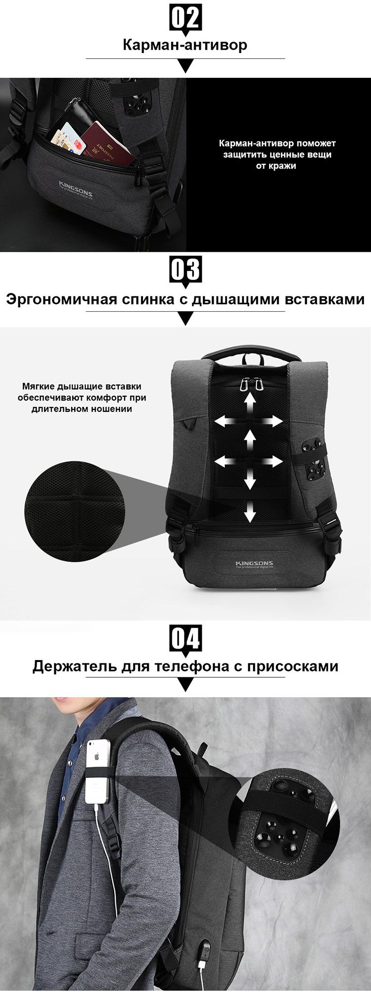 Рюкзак Kingsons KS3149W Тёмно-серый