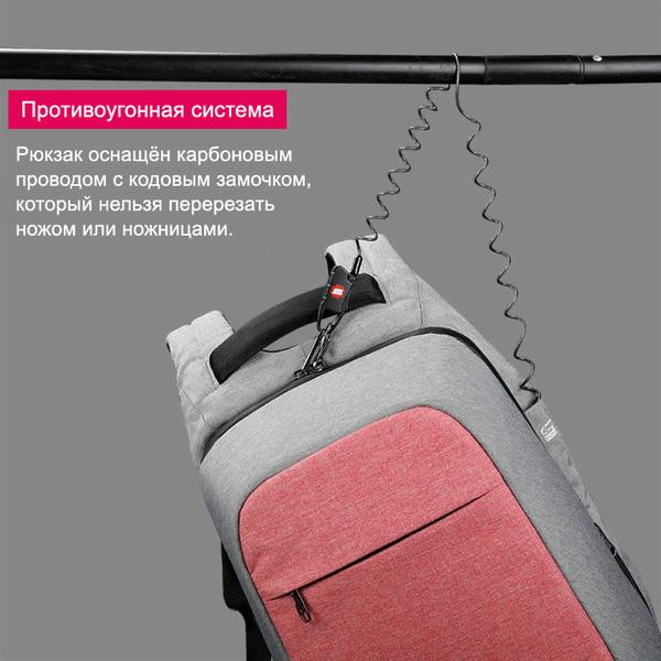 Рюкзак-антивор Tigernu T-B3335 Розовый